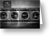 Washing Greeting Cards - Laundromat Art Greeting Card by Bob Orsillo