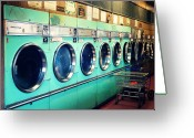 Cart Greeting Cards - Laundromat Greeting Card by Vivienne Gucwa