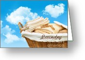 Washing Greeting Cards - Laundry basket  against a blue sky Greeting Card by Sandra Cunningham