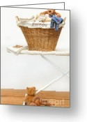 Household Greeting Cards - Laundry basket with teddy bears on floor Greeting Card by Sandra Cunningham