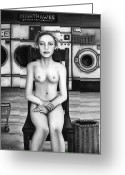 Kinky Greeting Cards - Laundry Day 5 in BW Greeting Card by Leah Saulnier The Painting Maniac