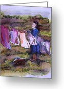 Woman Tapestries - Textiles Greeting Cards - Laundry Day Greeting Card by Carolyn Doe