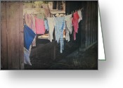 Clothesline Greeting Cards - Laundry Day Greeting Card by Laurie Search