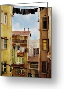 Hanging Greeting Cards - Laundry Drying On  Line Greeting Card by Hulya Ozkok