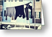 Venice Waterway Greeting Cards - laundry on a clothes line in Burano - Venice Greeting Card by Joana Kruse