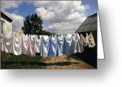 Appliances Greeting Cards - Laundry On A Clothesline Greeting Card by Steve Raymer