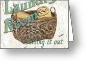 Antique Basket Greeting Cards - Laundry Room Sorting it Out Greeting Card by Debbie DeWitt