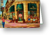 Montreal Street Life Greeting Cards - Laura Secord Candy And Cone Shop Greeting Card by Carole Spandau