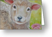 Sheep Greeting Cards - LauraLye Greeting Card by Laura Carey