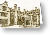 Commission Greeting Cards - Laurel Hall in sepia Greeting Card by Lee-Ann Adendorff