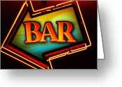 Brasserie Greeting Cards - Laurettes Bar Greeting Card by Barbara Teller