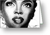 African American Art Drawings Greeting Cards - Lauryn Hill Drawing Greeting Card by Keeyonardo