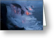 Oceans And Seas Greeting Cards - Lava Flowing Into The Pacific Ocean Greeting Card by Stephen Alvarez