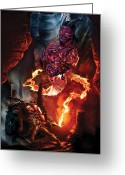 Steampunk Digital Art Greeting Cards - Lava Genie Greeting Card by Paul Davidson