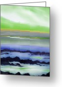  Originals Greeting Cards - Lava Rock Abstract Sunset in Blue and Green Greeting Card by Gina De Gorna