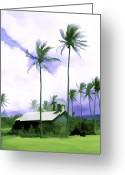 Palm Trees Greeting Cards - Lava rock church Greeting Card by Kurt Van Wagner