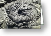 Whirls Greeting Cards - Lava Swirl Greeting Card by Deborah Smolinske