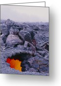 Big Island Greeting Cards - Lava Tube, Kilauea Volcano, Hawaii Greeting Card by G. Brad Lewis