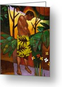 Hawaiian Greeting Cards - Lavalava Greeting Card by Douglas Simonson