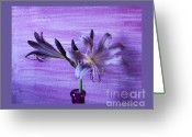Darken Greeting Cards - Lavendar Lilies Greeting Card by Marsha Heiken