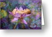 Newborn Greeting Cards - Lavendar Lotus Dream Baby Greeting Card by MiMi  Photography