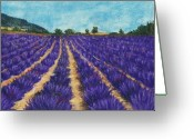 Landscapes Pastels Greeting Cards - Lavender Afternoon Greeting Card by Anastasiya Malakhova