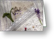 Sewing Tapestries - Textiles Greeting Cards - Lavender and Lace Greeting Card by Masha Novoselova