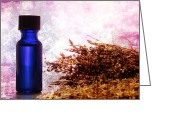 Aromatherapy Greeting Cards - Lavender Essential Oil Bottle Greeting Card by Olivier Le Queinec