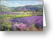 Violet Greeting Cards - Lavender Fields in Old Provence Greeting Card by Timothy Easton