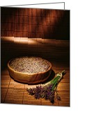 Bamboo Greeting Cards - Lavender Flowers and Seeds Greeting Card by Olivier Le Queinec