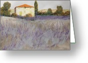 Country Painting Greeting Cards - Lavender Greeting Card by Guido Borelli