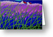 Landscape Framed Prints Greeting Cards - Lavender Hill Greeting Card by John  Nolan