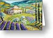 Artiste Greeting Cards - Lavender Hills Tuscany by Prankearts Fine Arts Greeting Card by Richard T Pranke