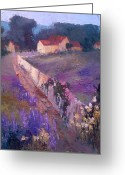 Country Lanes Painting Greeting Cards - Lavender Lane Greeting Card by Mary Scott