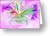 Designers Choice Digital Art Greeting Cards - Lavender Orchids Painting Greeting Card by Don  Wright