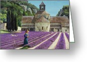Purples Greeting Cards - Lavender Picker - Abbaye Senanque - Provence Greeting Card by Trevor Neal 