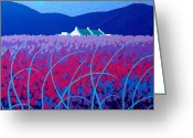 December Painting Greeting Cards - Lavender Scape Greeting Card by John  Nolan