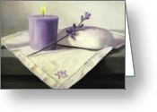 Flower Still Life Prints Painting Greeting Cards - Lavender Sprig Greeting Card by Linda Jacobus