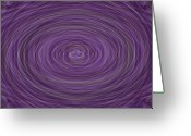 Oval Greeting Cards - Lavender Vortex Greeting Card by Teresa Mucha