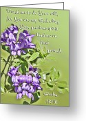 Mountain Laurel Greeting Cards - Laverder Blossoms with Pslams Scripture Greeting Card by Linda Phelps