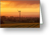 Windmill And Tree Greeting Cards - Layers Greeting Card by Brian Kerr Photography