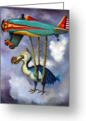 Plane Greeting Cards - Lazy Bird Greeting Card by Leah Saulnier The Painting Maniac