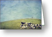 Hill Photographs Greeting Cards - Lazy Cows Greeting Card by Kathy Jennings