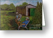 Summer On The Farm Greeting Cards - Lazy Day on the Farm Greeting Card by Reb Frost