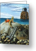 Rocks Greeting Cards - Lazy Days - surreal fantasy Greeting Card by Linda Apple
