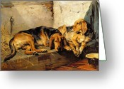 Hounds Greeting Cards - Lazy Moments Greeting Card by John Sargent Noble