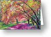 Trees Blossom Greeting Cards - Lazy on a Sunday Central Park Greeting Card by David Lloyd Glover
