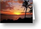 Palm Trees Greeting Cards - Lazy Sunset Greeting Card by Kamil Swiatek