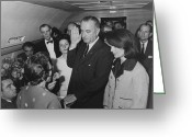 Democrat Party Greeting Cards - LBJ Taking The Oath On Air Force One Greeting Card by War Is Hell Store