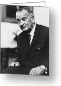 Democrat Party Greeting Cards - Lbj  Greeting Card by War Is Hell Store